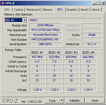 Overclocking de la RAM, vue du slot 1 et des voltages associés d'une barrette DDR3, en utilisant CPU-Z