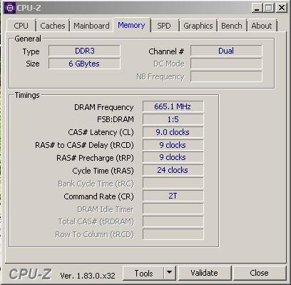 Vue de la mémoire totale en vue de l'overclocking de la RAM. Le type de mémoire est DDR3, on a accès aux informations concernant les différents timings grâce à CPU-Z.